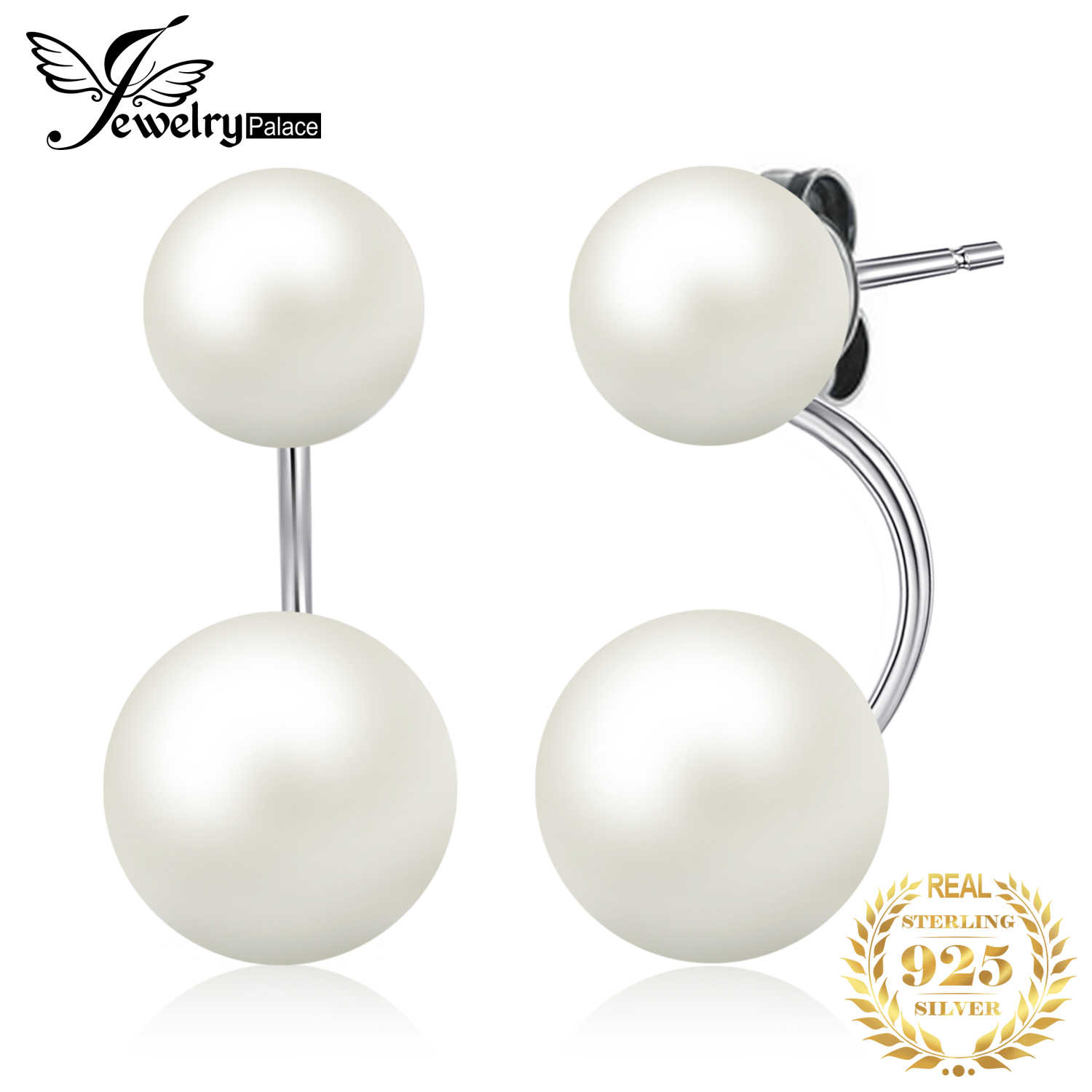 JewelryPalace Freshwater Pearl Jacket Stud Earrings 925 Sterling Silver Earrings For Women Korean Earrings Fashion Jewelry 2019