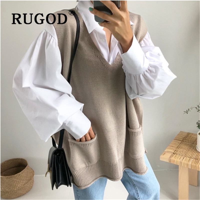 RUGOD Autumn Winter New Style Chic Vintage Solid Color Split Vest V-neck Knitted Sweater Fashion 2019 Kpop Clothes Plus Size