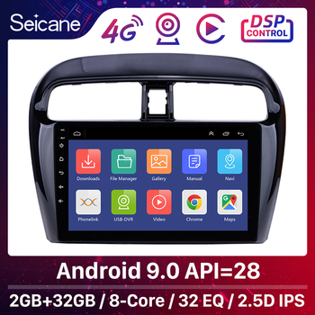 Seicane 9 inch Android 9.0 Car Radio Stereo Video Player For Mitsubishi Mirage 2012 2013 2014-2016 support DVR OBD Bluetooth image