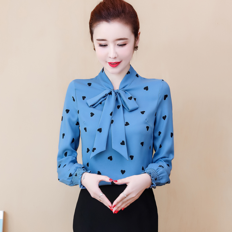 Women Spring Summer Style Chiffon Blouses Shirts Lady Casaul Long Sleeve Polka Dot Printed Bow Tie Collar Blusas Tops DF3158