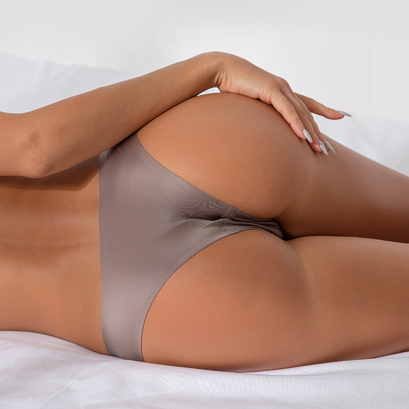 <font><b>Women</b></font> <font><b>Sexy</b></font> Seamless Panties <font><b>Briefs</b></font> Nylon Ultra-thin G-string Thongs Low Rise Lingerie Ice Silk <font><b>Briefs</b></font> Lady Underwear Wholesale image
