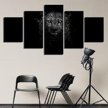 Черный и белый леопард hd настраиваемый холст картина печать