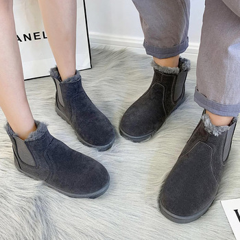 New Fashion Solid Color Women Boots Winter Snow Boots Female Casual Lightweight Ankle Botas Mujer Couple Warm Boots Size 36-44 trendy metal rivets and solid color design ankle boots for women