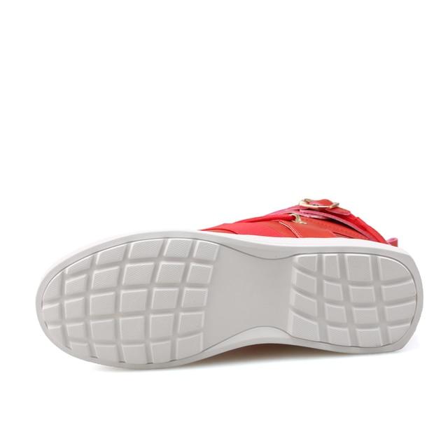 Los hombres de alta superior zapatillas de deporte de moda hebilla plataforma pisos botas Zapatos hombre exterior 5