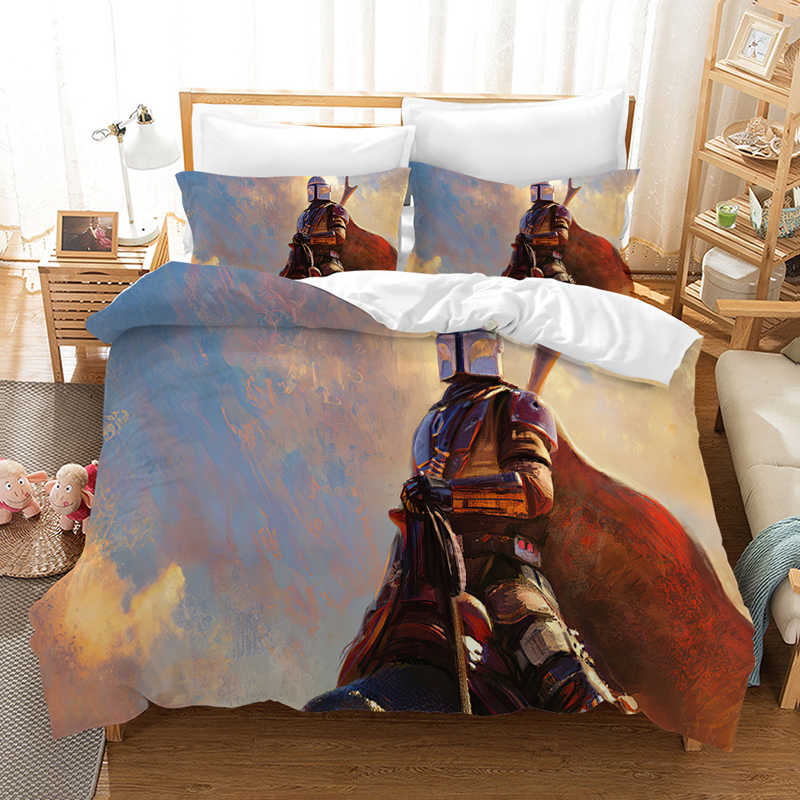 Movie Star Wars The Mandalorian Bedding Set Print Duvet Cover Comforter Bedding Sets Bedclothes Bed Linen bed set (NO Sheet)