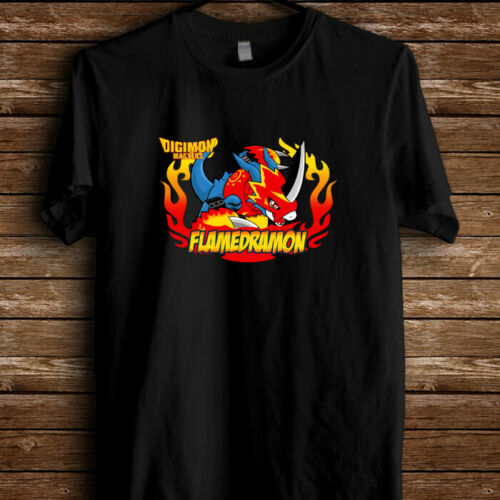 Digimon Masters Flamedramon Game Logo Mens T-Shirt Black Men Women Unisex Fashion tshirt Free Shipping image