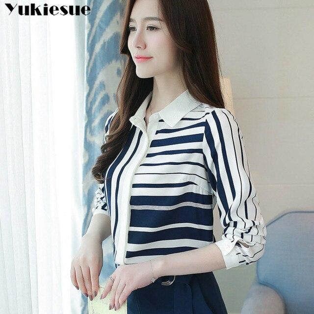 Classical Style Chiffon Blouse Fashion Women striped Long Sleeve Shirt Office Lady Women Tops Blusas Femininas Camisas Mujer 4