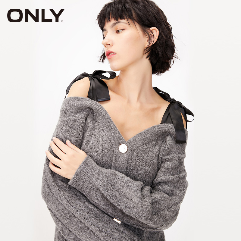 ONLY Women's Winter Bowknot Shoulder Straps Cardigan Sweater|  11933B509