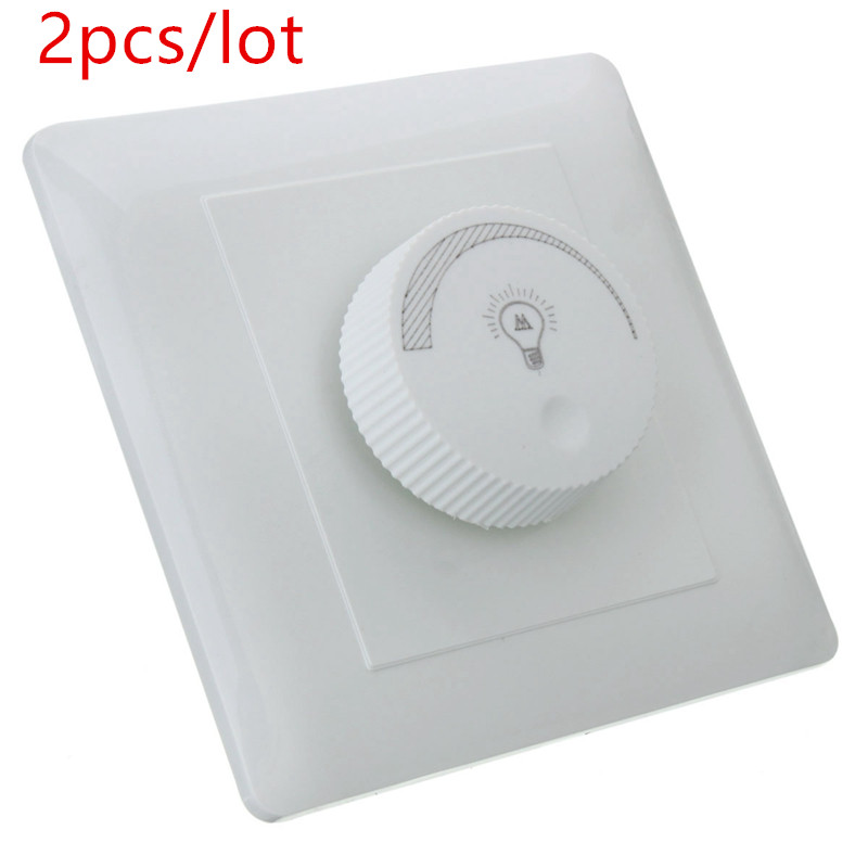 2pcs/lot 220V LED Dimmer Switch Elegant White Adjustable Brightness Controller Filament Lamp Brightness Controller Dimmer