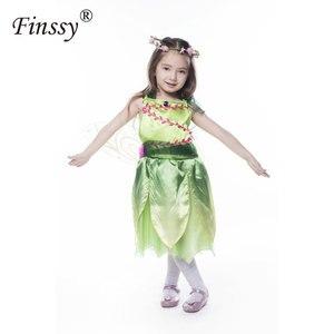 Image 4 - 나비 꽃 요정 코스프레 의상 소녀 할로윈 카니발 축제 파티 성능 드레스 날개 Garlands 포함