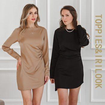 Toppies 2021 Spring Women Satin Dress Sexy Long Sleeve Wrap Robe Female Elegant Fashion Ladies Dress 1