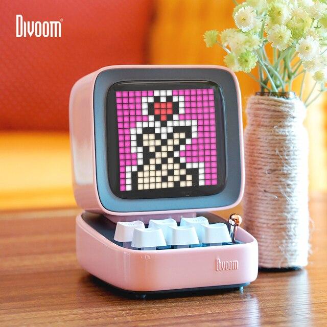 Divoom Ditoo Retro Pixel art Bluetooth altoparlante portatile sveglia tabellone LED fai da te, decorazione della luce della casa regalo di capodanno