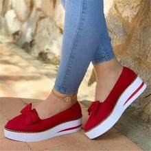 Spring 2020 women's single shoes, leather breathable platform shoes, red bowknot festive women's shoes, fashionable wild shoes