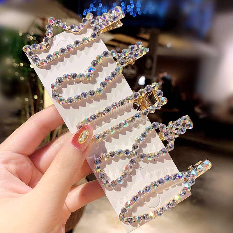 New Women Luxury Colorful Shining Crystal Geometric Hairpins Elegant Headband Hair Clips Barrettes Lady Fashion Hair Accessories