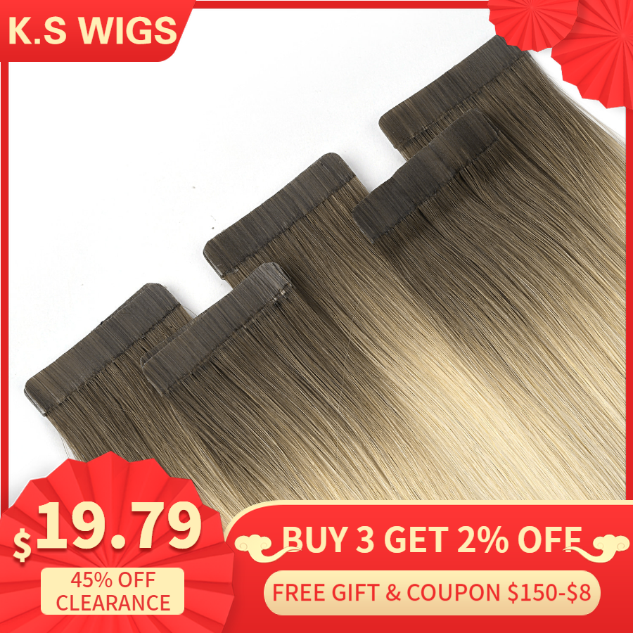 K.S WIGS 16'' 20'' 24'' Tape In Human Hair Extensions Double Drawn Skin Weft Adhesive Remy Hair Extensions Ombre Color