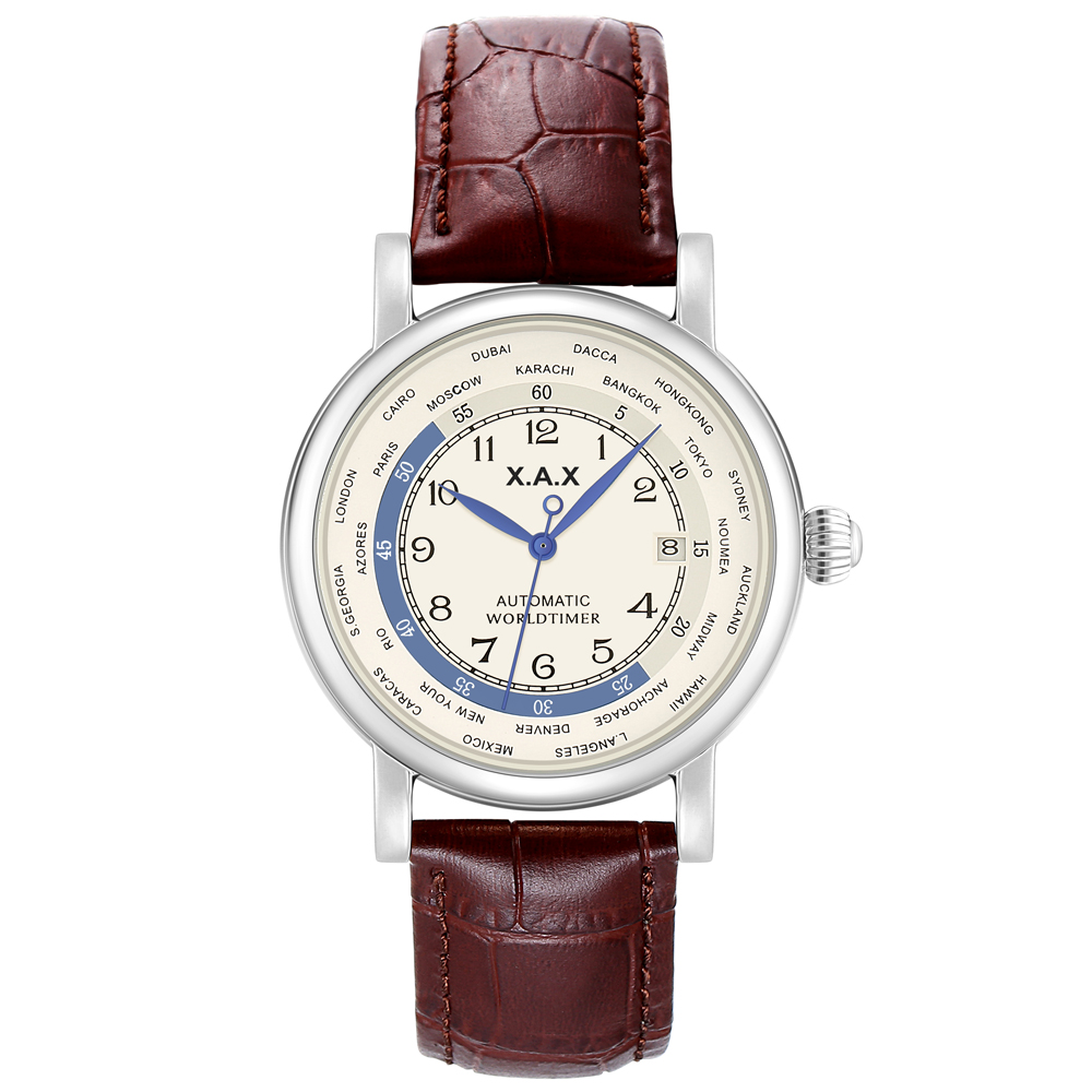 World Time Automatic Watch Self-wind Watches Men Luxury Mechanical Watches Waterproof  Large Watches
