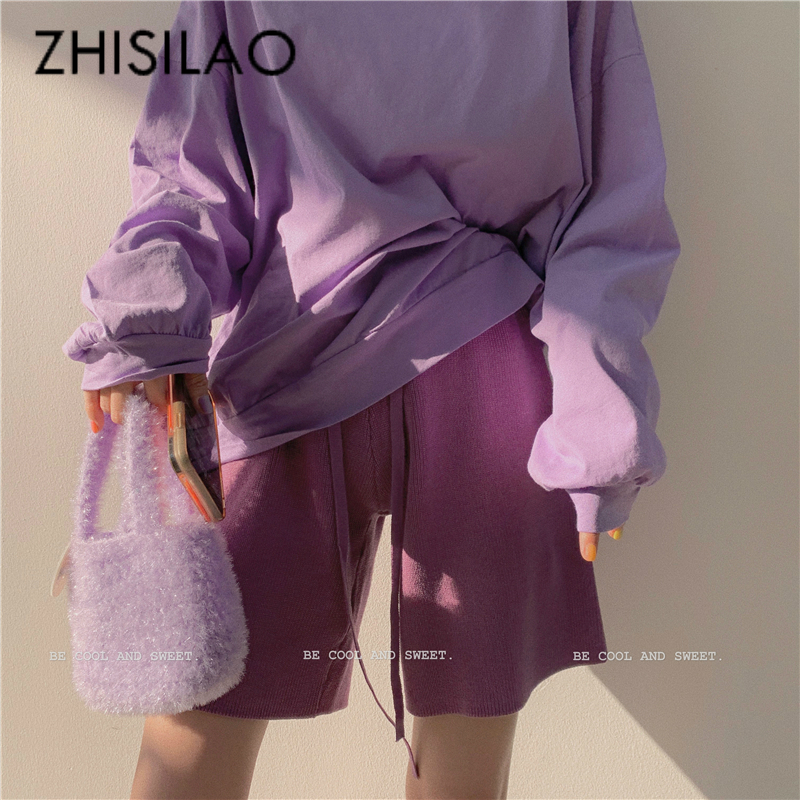 Knit Shorts Women Elastic Waist Wide Leg Pantalon Femme Knee-length High Waist Capris Plus Size Summer 2020 White Shorts Korean