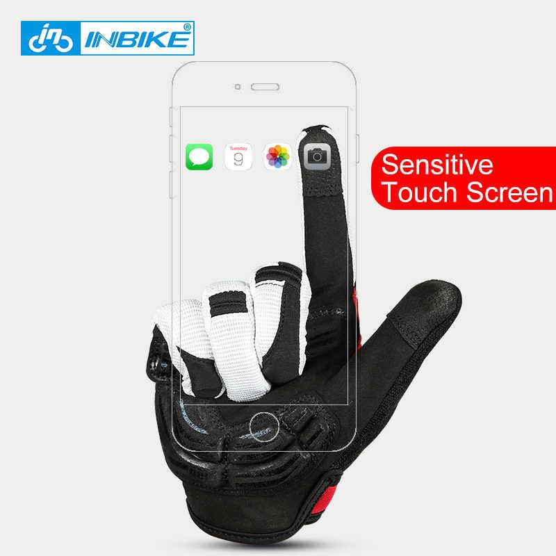 INBIKE on parmaklı bisiklet eldiveni dokunmatik ekran MTB bisiklet bisiklet eldiven jel yastıklı açık spor spor eldiven bisiklet aksesuarları