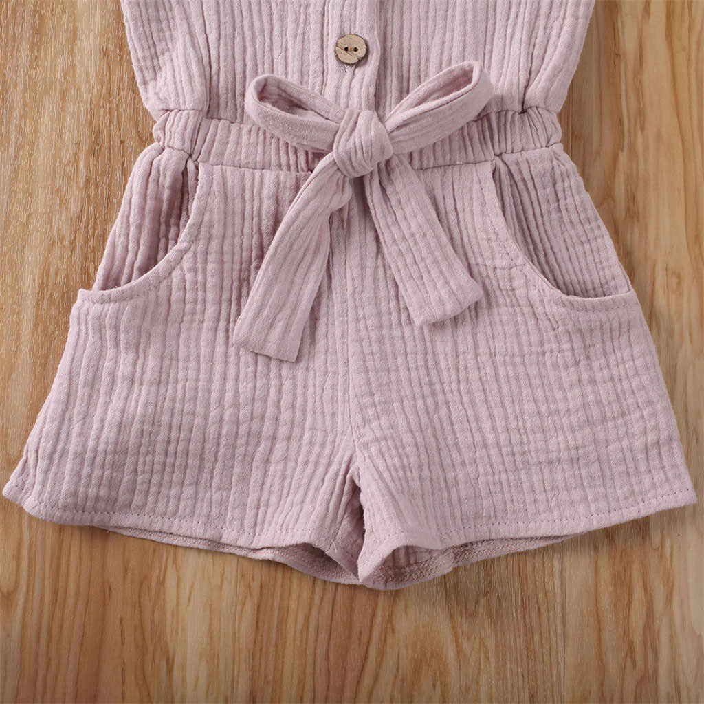 Infant Toddler Baby Kids Girl Solid Ruffle Bow Romper Jumpsuit Playsuit Outfits