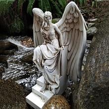 Garden Angel Ornament Realistic Decorative Resin Weather-resistant Art Sculpture for Garden