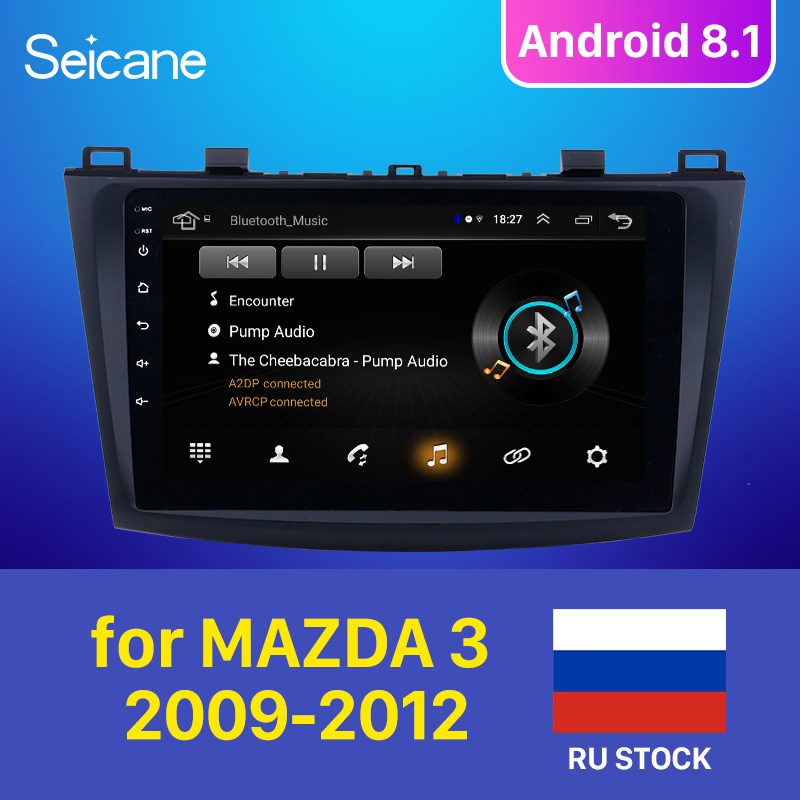Seicane for <font><b>MAZDA</b></font> <font><b>3</b></font> 2009 <font><b>2010</b></font> 2011 2012 Android 8.1 9 Inch Rom 16GB Car GPS Navigation <font><b>Radio</b></font> Multimedia Player support TPMS 3G image