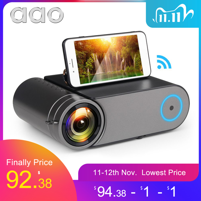 AAO YG420 Mini LED 720P Projector Native 1280x720 Portable Wireless WiFi Multi Screen Video Beamer YG421 3D G500 1080P Projector