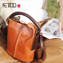 AETOO Original designer new first layer cowhide bucket bag soft handmade leather casual handbag shoulder Messenger bag стоимость