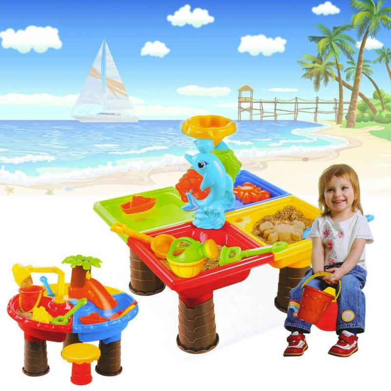 Summer Desk Digging Pit For Children Bucket Outdoor Kids Seaside Beach Toy Set Water Sandglass Play Sand Table Garden