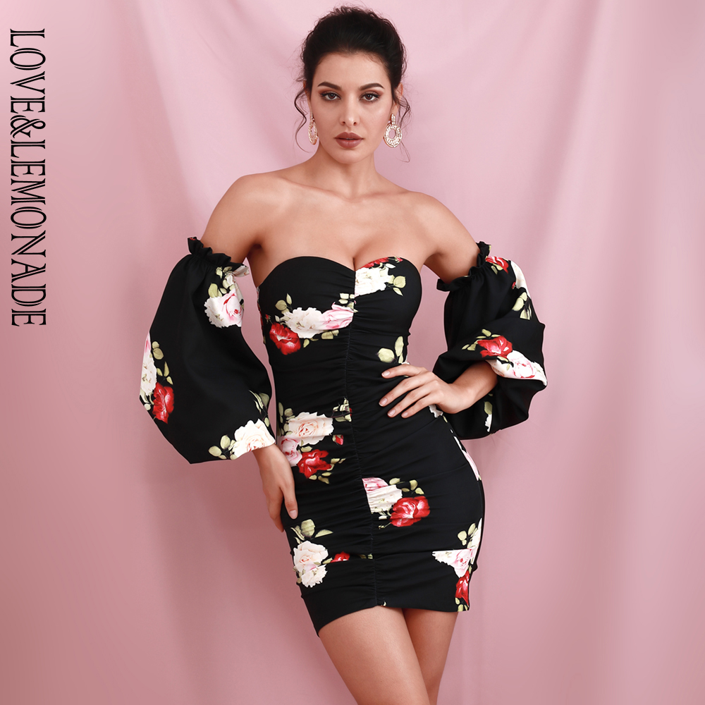 LOVE & LEMONADE Sexy Tube Top Black Print Puff Sleeve Bodycon Party Mini Dress (Sleeve Can Be Removed) LM82231