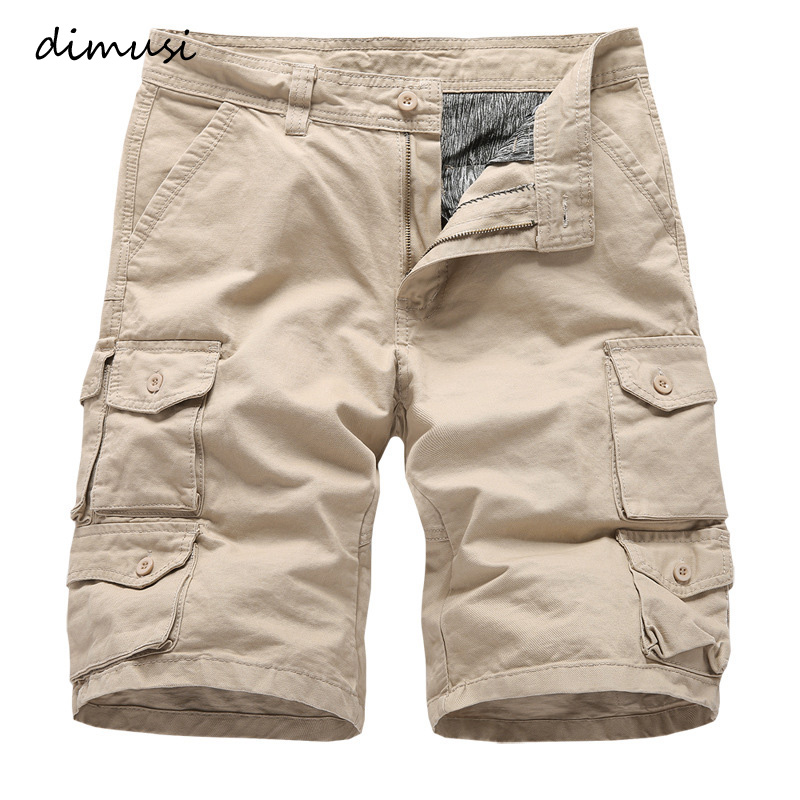 DIMUSI Summer Men's Shorts Casual Male Cotton Fitness Sports Cargo Shorts Male Knee Length Breathable Beach Shorts Board Joggers
