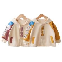 Cute Baby Girls Hoodies Boys Letter Print Outerwear Costume Infant Long Sleeve Zipper Sweatshirts Autumn Children's Clothing