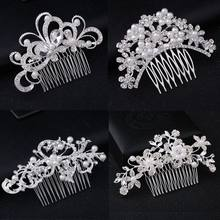 Pearl CRYSTAL Wedding Hair Comb Clip Rhinestone Headdress Crystal Butterfly silver Gold Pearl Headpiece For Bridesmaid Bride(China)