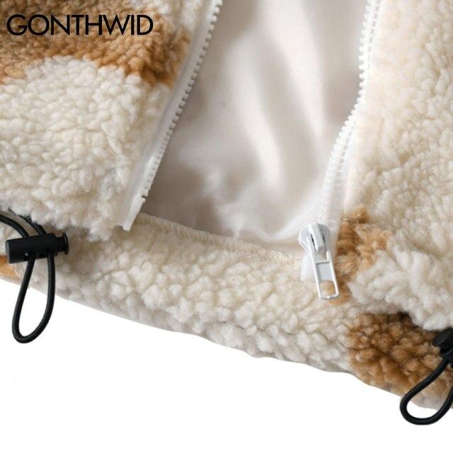 GONTHWID Fleece Hooded Jackets Streetwear Casual Harajuku Hip Hop Men Women Fashion Bear Print Full Zip Hooded Coat Tops Outwear 6