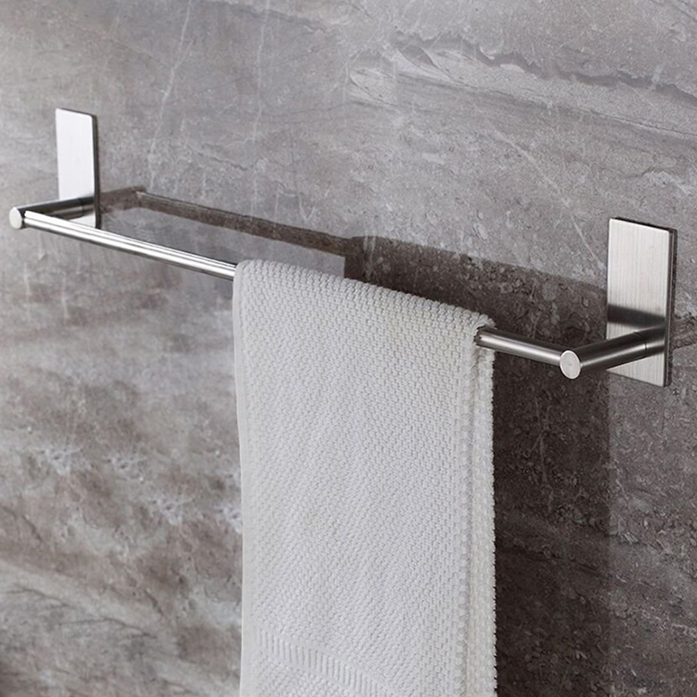 Stainless Steel Fixed Bath Towel Holder Bathroom Towel Bar Wall Mounted Towel Rack Hanger Single Hook Dual Towel Racks 55/40CM