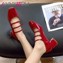 ANNYMOLI Woman Mary Janes Shoes Real Leather Med Heels Square Toe Pumps Buckle Block Heel Shoes Ladies Footwear Beige Red 33-40 mixed color polka dot mesh upper girl nude shoes square toe black suede buckle mary janes shoes middle chunky heel shoes women