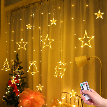 Christmas string lights Curtain Fairy Lights Garland Led Wedding Party Christmas For Window Home Outdoor Decor heart led curtain lights 1 5m 5t ip44 waterproof string lights for wedding valentine s day home window wall decoration d30