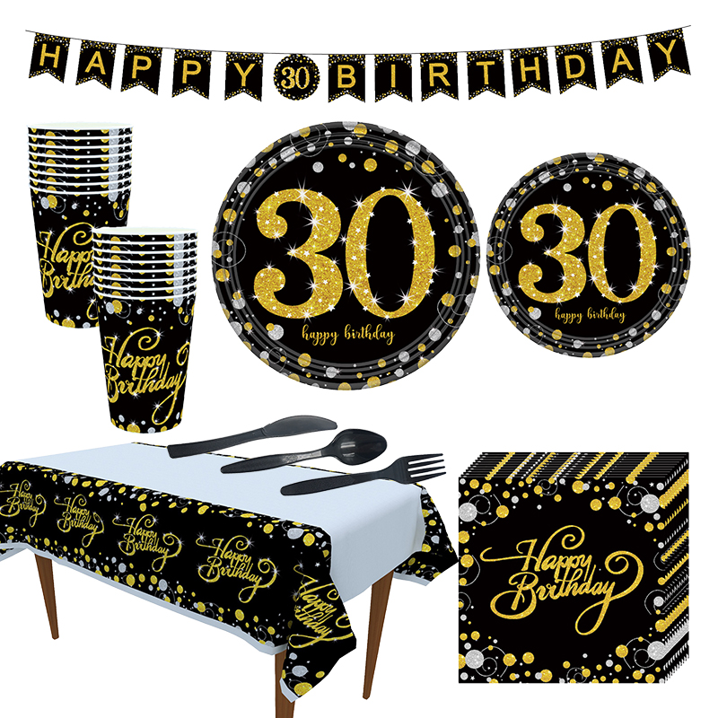 Black Gold Party Paper 30 40 50 60 Happy Birthday Party Disposable Tableware Decorations Adult Birthday 30th 30Year Party Supply