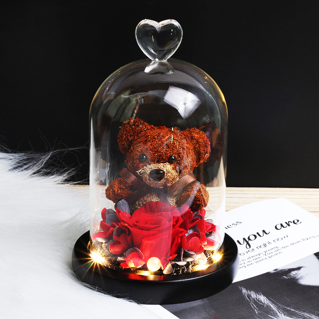 Eternal Rose Preserved Adorable Teddy Bear | Mold-in-a-Bottle Model, Rose Immortal, Valentine's Day Gifts for Mother's Day
