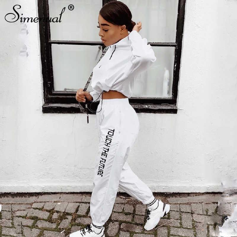 Simenual レタープリントカジュアル 2 点セット女性ファッションジッパー長袖服スポーティアクティブ摩耗トップとパンツセット