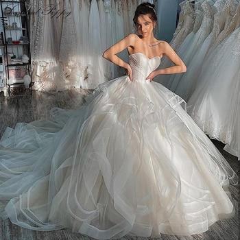 Lceland Poppy Ball Gown Strapless Tulle Wedding Dresses 2020 Sleeveless Pleated Vestido de Novia Bridal Gowns Chapel Train