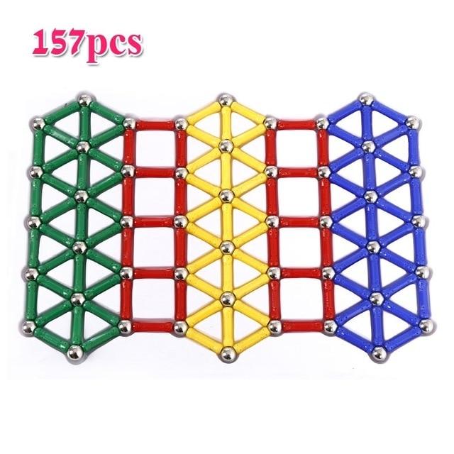 157pcs/SET Magnet Bars Metal Balls Design Blocks Mini Bead Stick Geometric Figure Construction Toys For Kid Intelligence Gifts