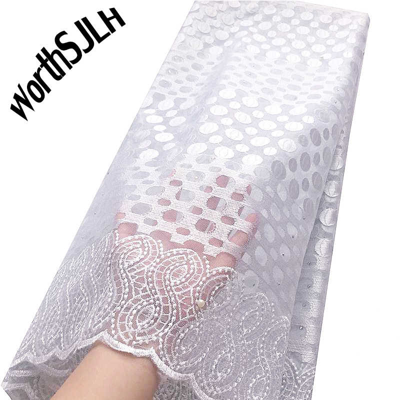 White African Lace Fabric 2019 High Quality Lace French Mesh Fabric Pink Beaded Stones Nigerian Swiss Lace Fabrics For Dress