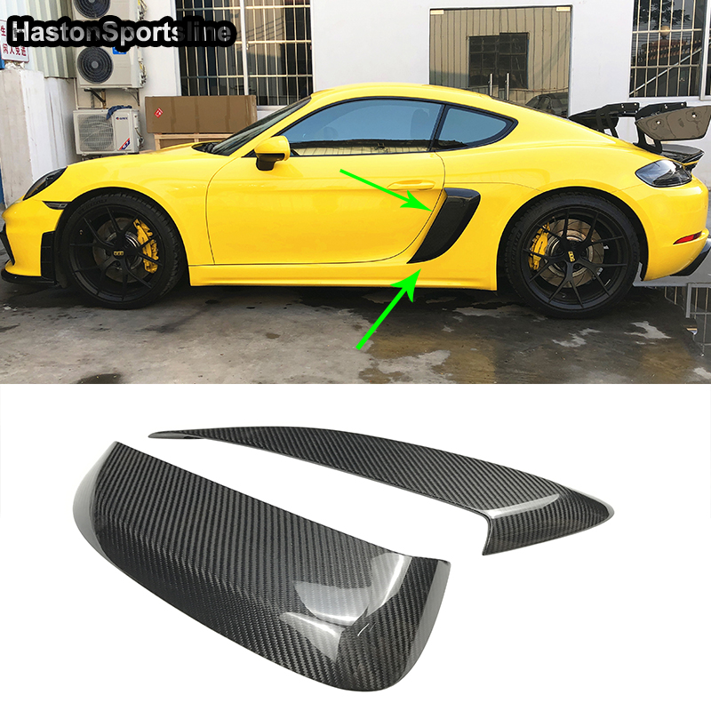 For Porsche <font><b>718</b></font> <font><b>Boxster</b></font> Cayman Carbon Fiber Car Body Kit Fender Side Air Intakes Vents Cover Trim 2016-2019 image