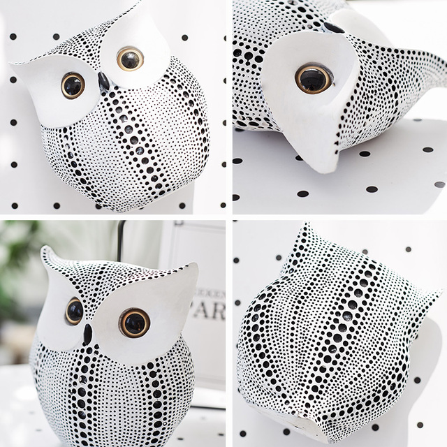 Nordic Style Minimalist Crafts White and Black Owl Animal Figurines Resin Statue Home Decoration Miniature Living Room Ornaments 3