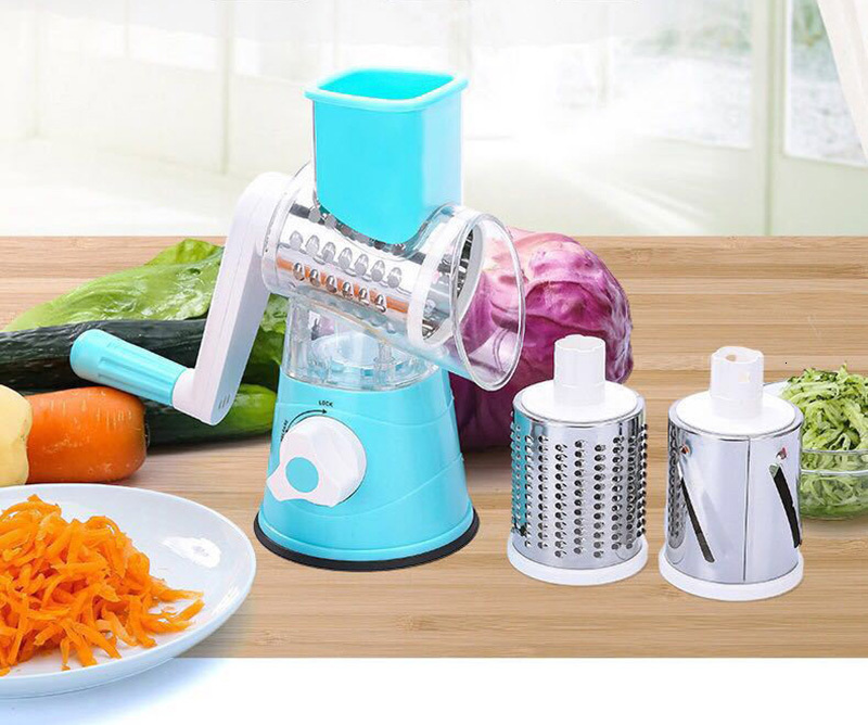 Multifunction Round Mandoline Slicer with 6 Changeable Stainless Steel Blades as Kitchen Tool 1