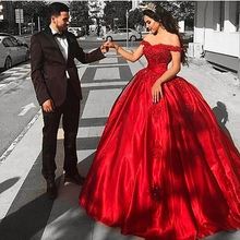 smileven Red Ball Gown Wedding Dress Lace Bridal Off The Shoulder Sexy Up Back Gowns Floor Length