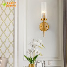 classic wall lamp bathroom/bedroom wall light Golden led stair light Glass indoor wall lights E14 lamps wall sconce light fixtur(China)
