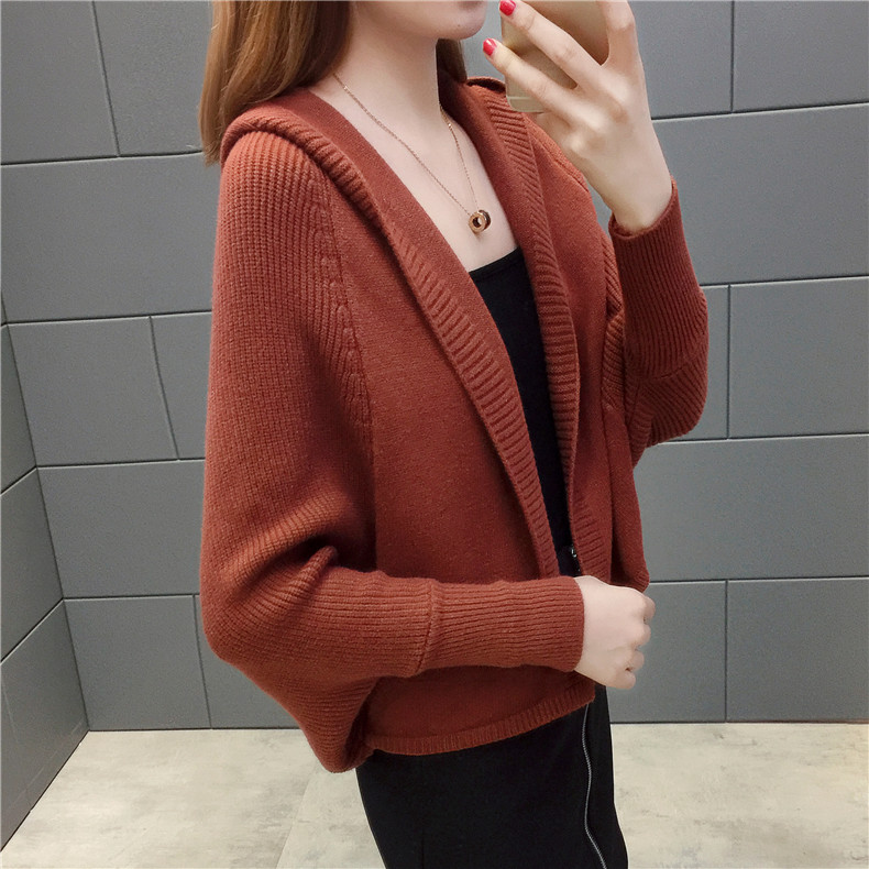 2019 Free send New style Korean loose and comfortable Autumn women Cardigan Sleeve of bat Hooded Sweater coat 107