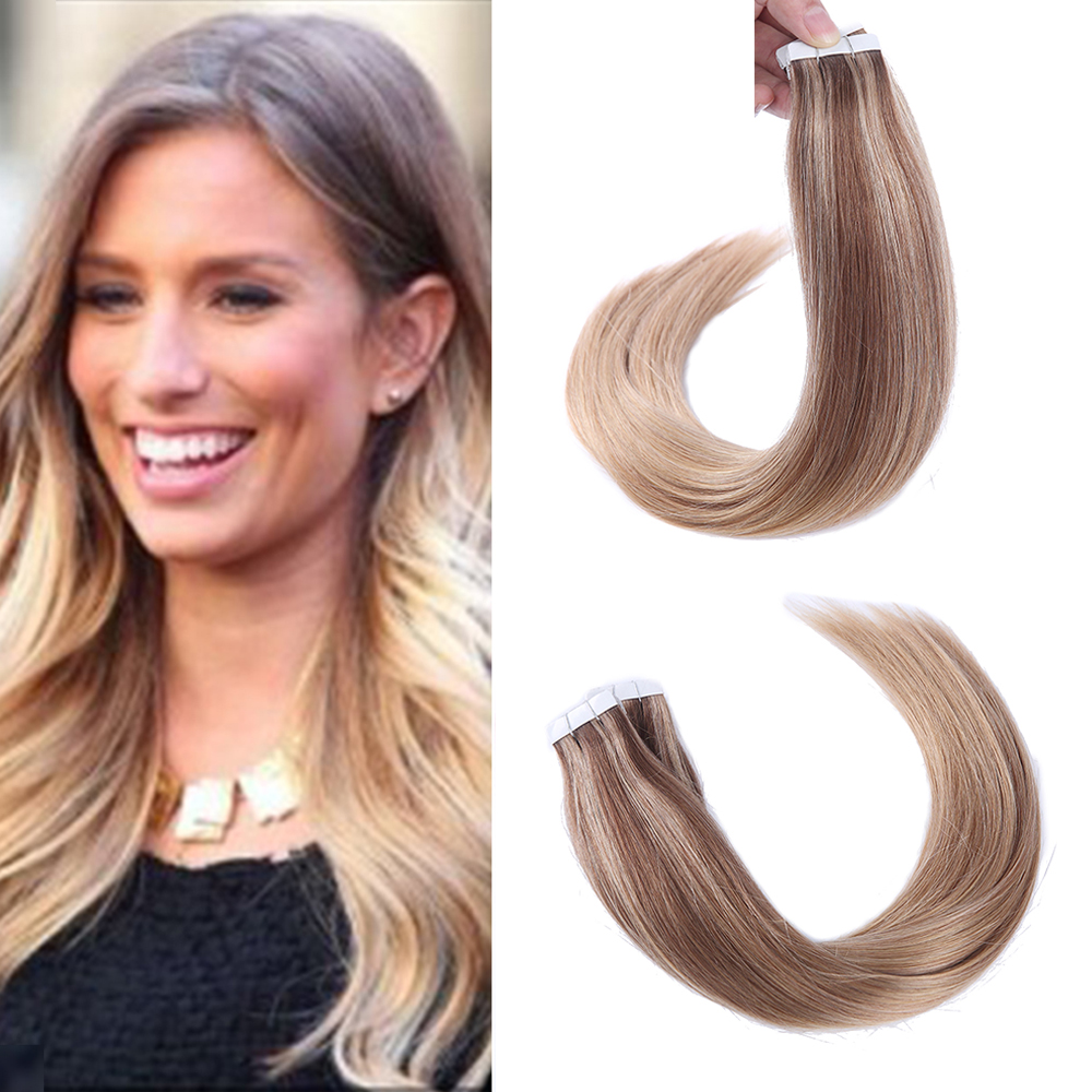 """Sindra Remy Tape In Human Hair Extensions Double Drawn Hair Straight 20 pcs 40pcs On Adhesives Seamless Hair Extensions 14""""-24"""