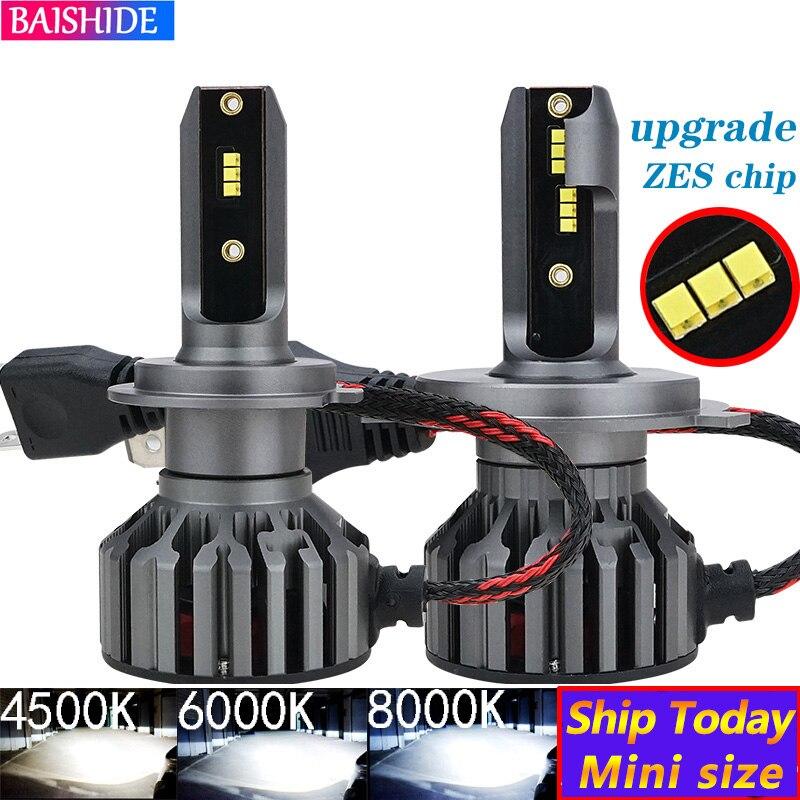 BAISHIDE H4 светодиодный H7 ZES автомобильный головной светильник s H1 H3 H9 H11 9005 HB3 9006 HB4 9012 6000K 4500K 60W 8000LM авто противотуманный светильник 12V светодиодны...
